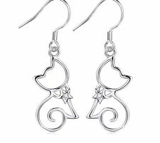 925 Sterling Silver Open Design Kitten Cat Drop Dangle Hook Earrings Studs E815
