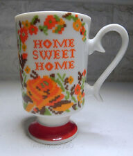 Vintage Home Sweet Home Needlepoint Slender Coffee Mug Tea Cup Orange Green