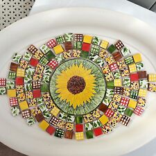 SUNFLOWERS HAND MADE / PAINTED & CUT DECORATIVE MOSAIC TILES SET