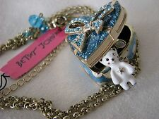 BETSEY JOHNSON WHITE SNOW ANGEL BEAR SPARKLE HEART BOW LOCKET NECKLACE~RARE~NWT
