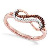 Popular Look! 100% 10K Rose Gold Red & White Diamond Infinity Ring Band .10ct