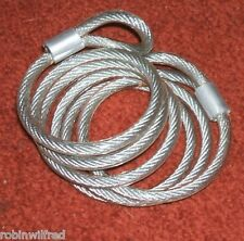 BIKE FLEXIBLE LOCK CABLE WITH EYELET ENDS, 4mm x 1200mm, NEW