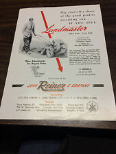 Vintage 1950s Reiner Co. Landmaster Rotary Tillers 1 page Advertising