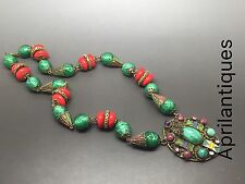 Vintage art deco Czech Neiger Red And peking glass enamel filigree necklace