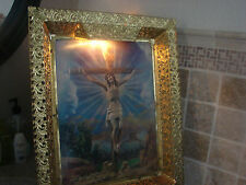 Lighted Picture Jesus Crucifixion and Ascension Changing Picture Metal Frame