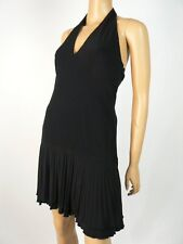 Costume National Black Jersey Silk Pleated Vneck Halter Dress 38 2 NWT C328