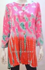 PLUS SIZE HIPPIE BOHO TIE DYE OMBRE LONG TUNIC TOP PINK ONESIZE 26 28 30 32 34