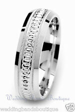 10k White Gold Milgrain Wedding Ring Carved Circle Pattern Mens Man Men Band 6mm