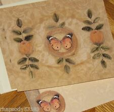 Butterfly & Rosebuds Elizabeth King Brownd Art 2002 Lang Graphics Note Cards 4ct