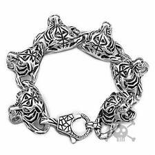 Ship from US Rocker Biker Tiger Silver Men Stainless Steel Bracelet from USA