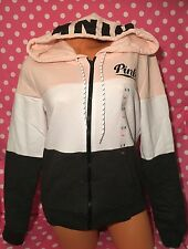 Victoria's Secret Pink Perfect Full Zip Hoodie PINK Gray Colorblock L NEW NIP
