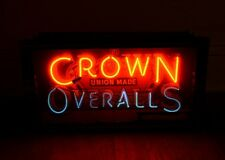 Very Rare 1920's-1930's Crown Overalls Neon Sign Work Clothes Neon Box Can Sign