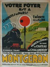 Vintage Antique large french poster with Train by Barataud Courteau,... Lot 111