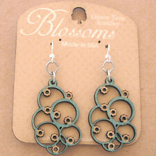 EUCLID Green Tree Jewelry EMERALD laser-cut wood earrings 108 BLOSSOMS circles