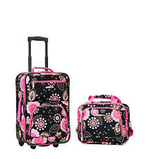 Rockland Rio 2pc Carry-On Luggage Set Pucci Pink Floral Soft Tolietries Bag