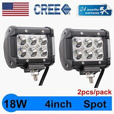 "2X 18W 4"" Cree LED Work Light Bar Spot Beam Offroad 4WD UTE SUV Fog Driving Lamp"