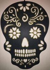 "Hand Painted Sugar Skull Wall Hanging (Gold glitter) - 16.5"" Tall x 12"" Wide"