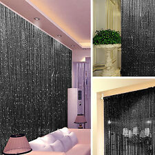 STRING DOOR CURTAIN Crystal Beads Room Divider Black Fringe Wall Window Panel