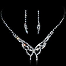 Alloy Silver Plated Rhinestone Butterfly Necklace, Earrings Bridal Jewelry Set
