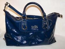 Cobalt Coach Madison Sabrina Patent Leather Satchel Bag #14179 & Hang Tag EC!