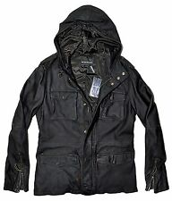 EMPORIO ARMANI Leather Hooded Parka Jacket, Black MED 48 IT $1650