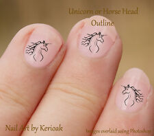 Unicorn Head or Horse, Black Outline 24 Unique Designer Nail Art Stickers