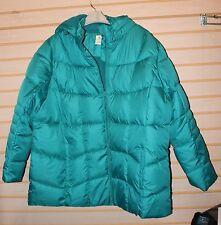 NEW FADED GLORY WOMENS PLUS SIZE 4X 26W/28W AQUA HOODED PUFFER JACKET COAT