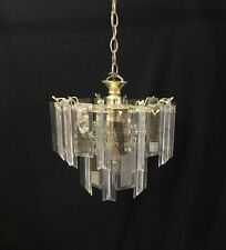 Vtg Glass Lucite Prism Chandelier Mid Century Hollywood Reg Light Fixture Venini