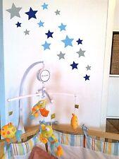 °°° 18 Sterne Aufkleber Mix Set Silber/Blau/Hellblau; Wandtattoo,Fensterbild