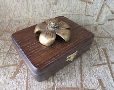 AWESOME Wooden jewelry big box handcrafted ash wood woodwork GOLDEN FLOWER new