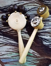 2 BALINESE SHAMAN MUSICAL INSTRUMENTS,FLAT NUT SHAKER RATTLE & PERCUSSION CYMBAL