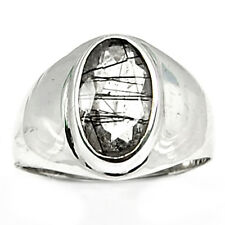 Tourmalated Quartz (Black Rutile) 925 Sterling Silver Ring Jewelry s.8 BRFR277