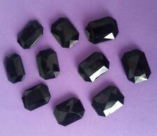 10 BLACK RHINESTONE CABOCHONS 18mm EMERALD SHAPED ~ FACETED ACRYLIC
