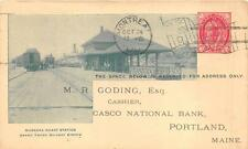 CANADA POSTAL CARD MUSKOKA WHARF STATION TRAIN DEPOT GRAND TRUNK POSTCARD 1900