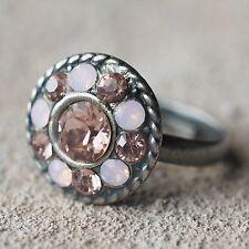 Neu 16mm RING mit SWAROVSKI STEINE vintage rose/rose water opal/rosa VERSTELLBAR