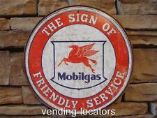 """New Mobil Gas 12"""" Round Vintage Style Metal Tin Sign Gasoline Motor Oil Service"""