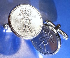 """R"" ""R"" Crowned ♔ Initials Danish Vintage 1972 Denmark Coin Cufflinks + Gift Box"