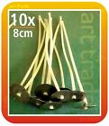 10 pcs x 8cm (80mm) CANDLE COTTON WICKS PRE WAXED WITH SUSTAINERS