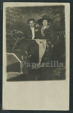 OR Salem RPPC 1912 COUPLE POSING in CARNIVAL STUDIO CAR with FAIR PENNANT Vg