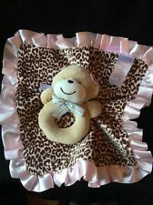 CARTERS Pink Leopard Plush Stuffed MONKEY Rattle Lovey Baby Security Blanket NEW