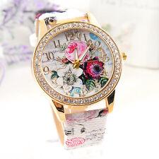 Fashion Women's Flower Dial Leather Stainless Steel Analog Quartz Wrist Watch