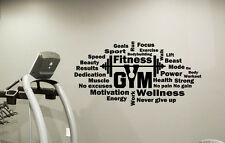 Gym Wall Decal Fitness Sport Motivational Words Vinyl Sticker Decor Mural 113fit