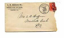 Vintage advertising envelope LH SEIPLE IMPORTED WINES & LIQUORS Easton PA 1897