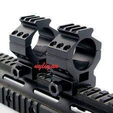 Heavy Duty 2X High 30mm Scope Ring 20mm Weaver Picatinny Rail Mount For Hunting