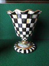 Large Mackenzie Childs Courtly Check FLUTED Footed Vase Ruffled Rim (JT)