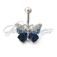 316L Surgical Steel + Rhinestone Reverse Dangle Belly Button Ring Butterfly Set