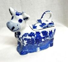 Blue Willow Porcelain China Sour Cream Cow Server Oriental Birds Pagodas New