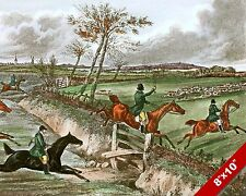 FOLLOWING THE HOUNDS FOX HUNT HORSE EQUESTRIAN HUNTING ART PAINTING CANVAS PRINT