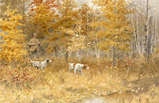 A B Frost Hunter Dogs in Autumn