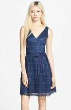 Adrianna Papell Lace Fit and Flare Navy Blue Dress 4 New